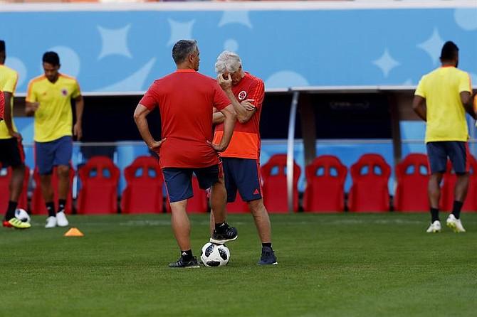 FUTBOL. El entrenador de Colombia Néstor Pekerman en un entrenamiento hoy, lunes 18 de junio de 2018, en el estadio Mordovia Arena en la ciudad de Saransk (Rusia)