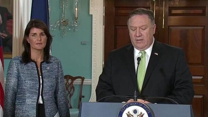 EEUU. Representante de EEUU en la ONU, Nikki Haley y el secretario de Estados, Mike Pompeo