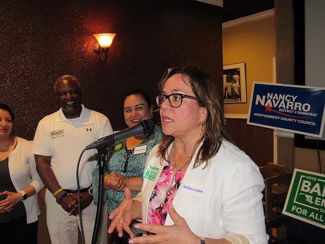 CANDIDATOS. La concejal de Montgomery Nancy Navarro, quien busca la reelección, junto a Grace Rivera, candidata por el concejo de ese condado.