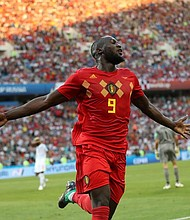 MUNDIAL. Romelu Lukaku, jugador de Belgica, celebra los tres goles anotados en el encuentro con Panamá