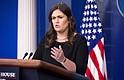 LOCALES. La portavoz de la Casa Blanca, Sarah Huckabee Sanders, durante una rueda de prensa en Washington