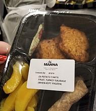 Muestra de una de las comidas de MANNA.