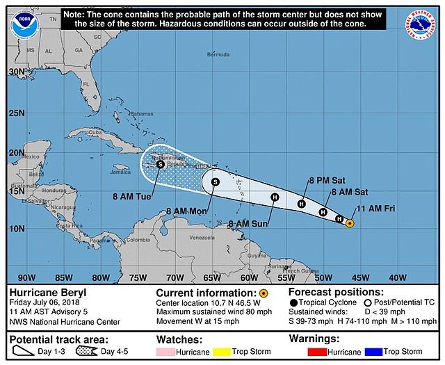 Mapa del pronóstico del centro del huracán Beryl