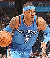 OJALÁ. Carmelo Anthony dejaría a Oklahoma City Thunder en la próxima temporada de la NBA. Se dice que podría jugar junto a James Harden en los Houston Rockets.