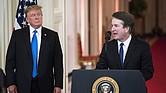 El juez federal Brett M. Kavanaugh, nominado por el presidente Trump para el cargo de juez de la Corte Suprema, en la Casa Blanca el 9 de julio.