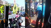 Las plataformas son muy visuales, con una rampa que conduce a una plataforma elevada que permite a las personas con problemas de movilidad o personas con coches de bebé, entrar y salir del autobús.