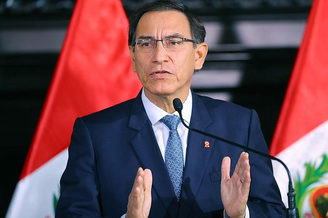 LIMA. Presidente de Perú, Martín Vizcarra, en declaraciones el miércoles 11 de julio de 2018 en el salón Túpac Amaru del Palacio de Gobierno