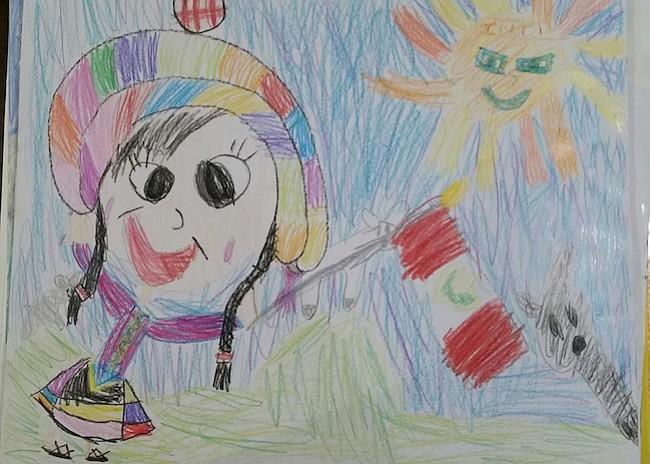 Dibujo ganador perteneciente a Romina Galarza Briceño, de 8 años.