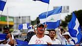 MANAGUA. Manifestantes en un plantón para conmemorar los 100 días del inicio de la crisis sociopolítica que atraviesa Nicaragua, originada por la gestión de Daniel Ortega, el jueves 26 de julio