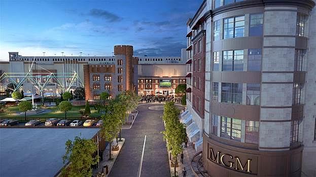 Este es un render de la fachada del resort casino MGM Springfield que abre el 24 de agosto.   FOTO: MGM SPRINGFIELD