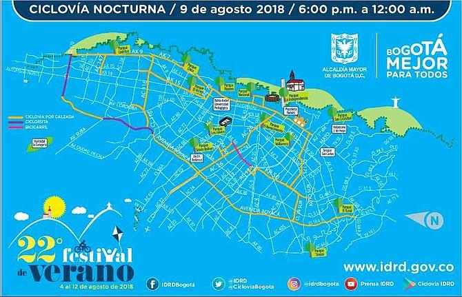 COLOMBIA. Itinerario de la ciclovía nocturna en Bogotá