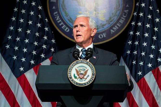VIRGINIA. El vicepresidente estadounidense, Mike Pence, durante un discurso en el Pentágono, el 9 de septiembre del 2018