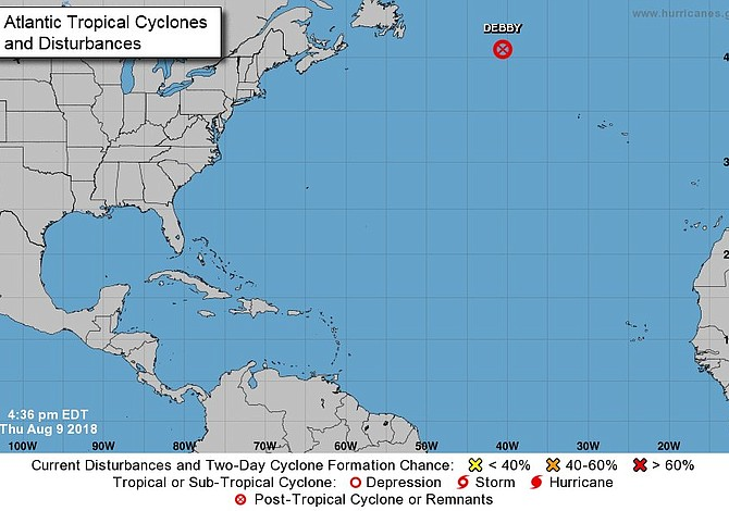 Tormenta Debby se convierte en un ciclón post-tropical en el Atlántico Norte