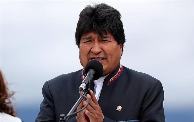BOGOTÁ. El presidente de Bolivia, Evo Morales, durante declaraciones a su llegada a Colombia por la investidura de Iván Duque, el martes 7 de agosto de 2018