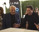 El arquitecto Frank Gehry y el director de la Filarmónica de Los Ángeles, Gustavo Dudamel.