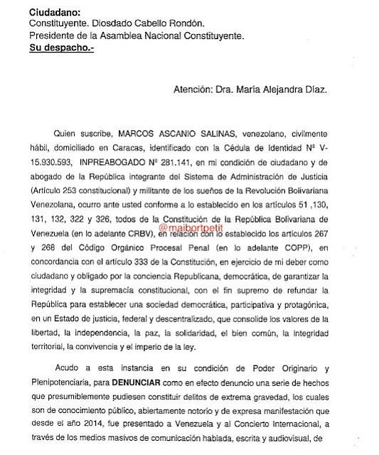 VENEZUELA. Documento Maibort Petit 1