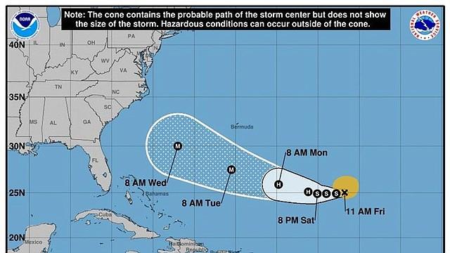 CLIMA. Imagen cedida por el Centro Nacional de Huracanes (NHC) que muestra el pronóstico de cinco días de la tormenta tropical Florence