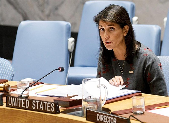 DIPLOMACIA. La embajadora de Estados Unidos ante las Naciones Unidas, Nikki Haley, el 6 de septiembre de 2018
