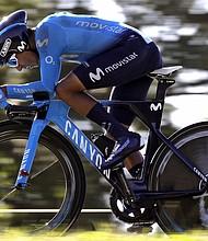 CICLISMO. El corredor colombiano del equipo Movistar, Nairo Quintana, durante la 16ª etapa de La Vuelta a España disputada entre Santillana del Mar y Torrelavega, con un recorrido de 32 kilómetros