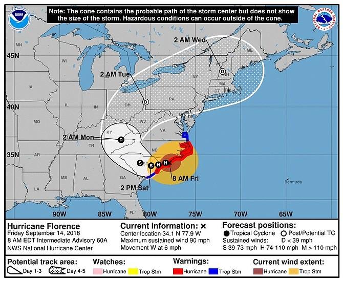 TIEMPO. Imagen cedida el viernes 14 de septiembre de 2018 por el Centro Nacional de Huracanes (NHC), muestra el pronóstico de cinco días del huracán Florence