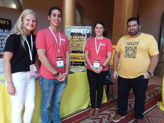 Tecnología. Neely Russel, Miguel Ángel Campos, Paula Pérez y el cofundador y presidente de la compañía tecnológica Reyet, Wa'il Ashshowwaf durante WEDC Fest 2018.