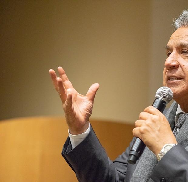 El presidente de Ecuador, Lenín Moreno cuando se dirigía a sus compatriotas en el MIT.