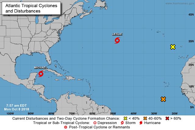 Tormenta trópical Michael se fortalece a medida que se acerca al norte de Florida.