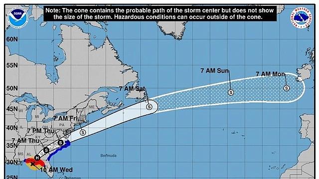 TORMENTA. Imagen cedida por el Centro Nacional de Huracanes (NHC), que muestra el pronóstico de cinco días del huracán Michael sobre el Océano Atlántico