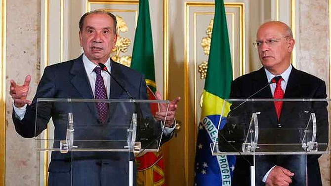REUNIÓN. durante una rueda de prensa en Lisboa, donde se reunió con su homólogo portugués, Augusto Santos Silva, el canciller explicó que por Brasil han pasado cerca de 150 mil inmigrantes venezolanos.