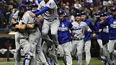Los Dodgers celebran la conquista de la Liga Nacional, en ek Miller Park