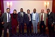 Danny Salazar, Carlos Martinez, David Ortiz, Pedro Martinez, Marcell Ozuna, Jim Corsi y Luis Severino, en la segunda edición de la Gala Anual, llevada a cabo en noviembre de 2017.