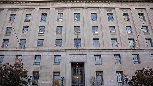POLÍTICA. Fachada del edificio del Departamento de Justicia de Washington, DC, EE. UU.