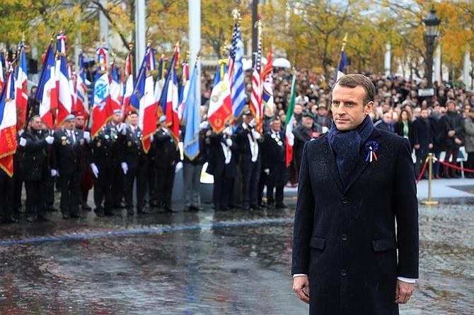 PARÍS. Foto del presidente de Francia, Emmanuel Macron, durante la conmemoración del centenario del Armisticio de la Primera Guerra Mundial, el 11 de noviembre de 2018