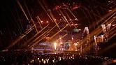 SHOW. Nicky Jam, J Balvin y Steve Aoki se presentan durante la 19a ceremonia anual de los Premios Grammy Latinos en el MGM Grand Garden Arena en Las Vegas, Nevada, EE. UU.