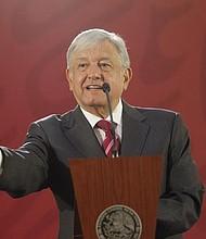 MÉXICO. El presidente de México, Andrés Manuel López Obrador, ofrece una rueda de prensa hoy, en el Salón Tesorería del Palacio Nacional, en Ciudad de México