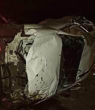 Camioneta en la que se transportaban los jugadores de la pelota venezolana José Castillo y Luis Valbuena