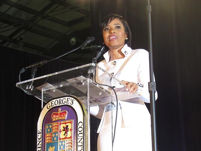 DISCURSO. La nueva Ejecutiva del Condado de Prince George's, Angela Alsobrooks, llama a la unidad y a continuar el crecimiento del condado.