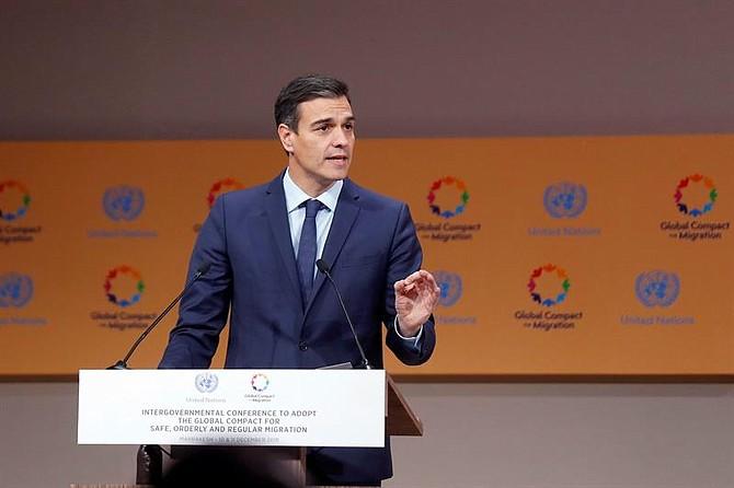 POLÍTICA. El presidente del Gobierno español, Pedro Sánchez, durante su intervención en la cumbre sobre la migración organizada por Naciones Unidas en Marrakech