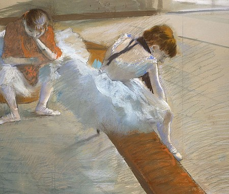 Edgar Degas, Dancers Resting, 1881–85. Pastel on paper mounted on cardboard. Juliana Cheney Edwards Collection