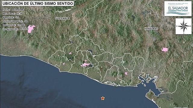 SISMO. Lugar donde se produjo el temblor sentido en El Salvador