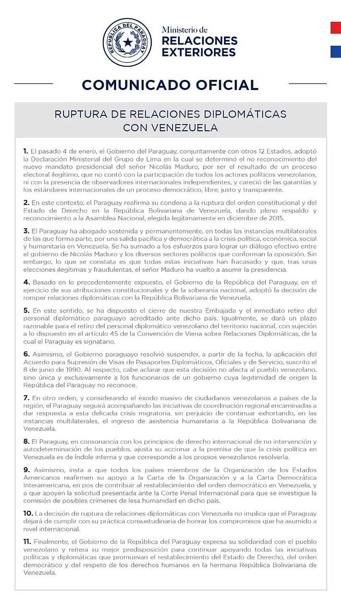 Comunicado oficial de Paraguay