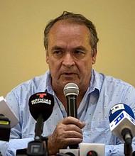 DECLARACIONES. Amerigo Incalcaterra, integrante del Grupo Interdisciplinario de Expertos Independientes (GIEI), durante una conferencia de prensa en Managua el 19 de diciembre