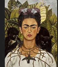 Autorretrato con collar de espinas y colibrí. (Nickolas Muray Collection, Harry Ransom Humanities Research Center, The University of Texas at Austin).