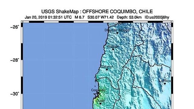 SISMO. El 20 de enero de 2019, el Servicio Geológico de los Estados Unidos (USGS) puso a disposición un mapa de la intensidad de la ayuda que muestra la ubicación de un terremoto de magnitud 6,7 que sacudió a 53 km de profundidad, a unos 15 km al suroeste de Coquimbo, Chile.