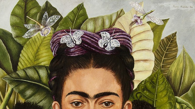 Self-Portrait with Hummingbird and Thorn. Frida Kahlo (Mexican, 1907–1954). 1940 Oil on masonite. Nickolas Muray Collection of Modern Mexican Art, Harry Ransom Center, The University of Texas at Austin. © 2018 Banco de México Diego Rivera Frida Kahlo Museums Trust, Mexico, D.F./Artists Rights Society (ARS), New York.