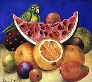 Still Life [with parrot and fruit]. Frida Kahlo (Mexican, 1907–1954). 1951. Oil on masonite. Nickolas Muray Collection of Modern Mexican Art, Harry Ransom Center, The University of Texas at Austin. © 2018 Banco de México Diego Rivera Frida Kahlo Museums Trust, Mexico, D.F. /Artists Rights Society (ARS), New York.