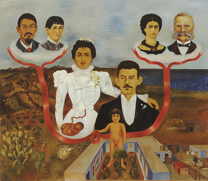 My Grandparents, Parents, and I (Family Tree). Frida Kahlo (Mexican, 1907–1954). 1936. Oil and tempera on zinc. The Museum of Modern Art, New York. Gift of Allan Roos, M.D., and B. Mathieu Roos, 1976. Digital Image © The Museum of Modern Art / Licensed by SCALA / Art Resource, NY. © 2019 Banco de México Diego Rivera Frida Kahlo Museums Trust, Mexico, D.F. /Artists Rights Society (ARS), New York.