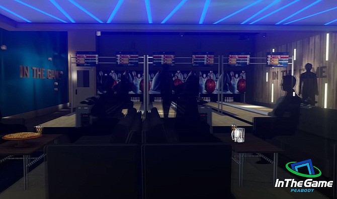 Maqueta del espacio de bowling de In The Game
