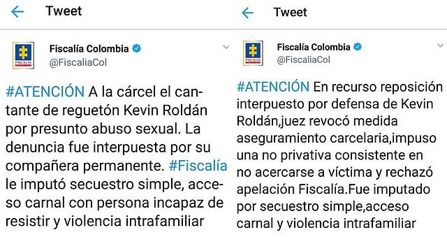 COLOMBIA. Captura de la publicación de la Fiscalía