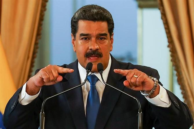 CARACAS. Nicolás Maduro durante una rueda de prensa en el palacio presidencial de Miraflores